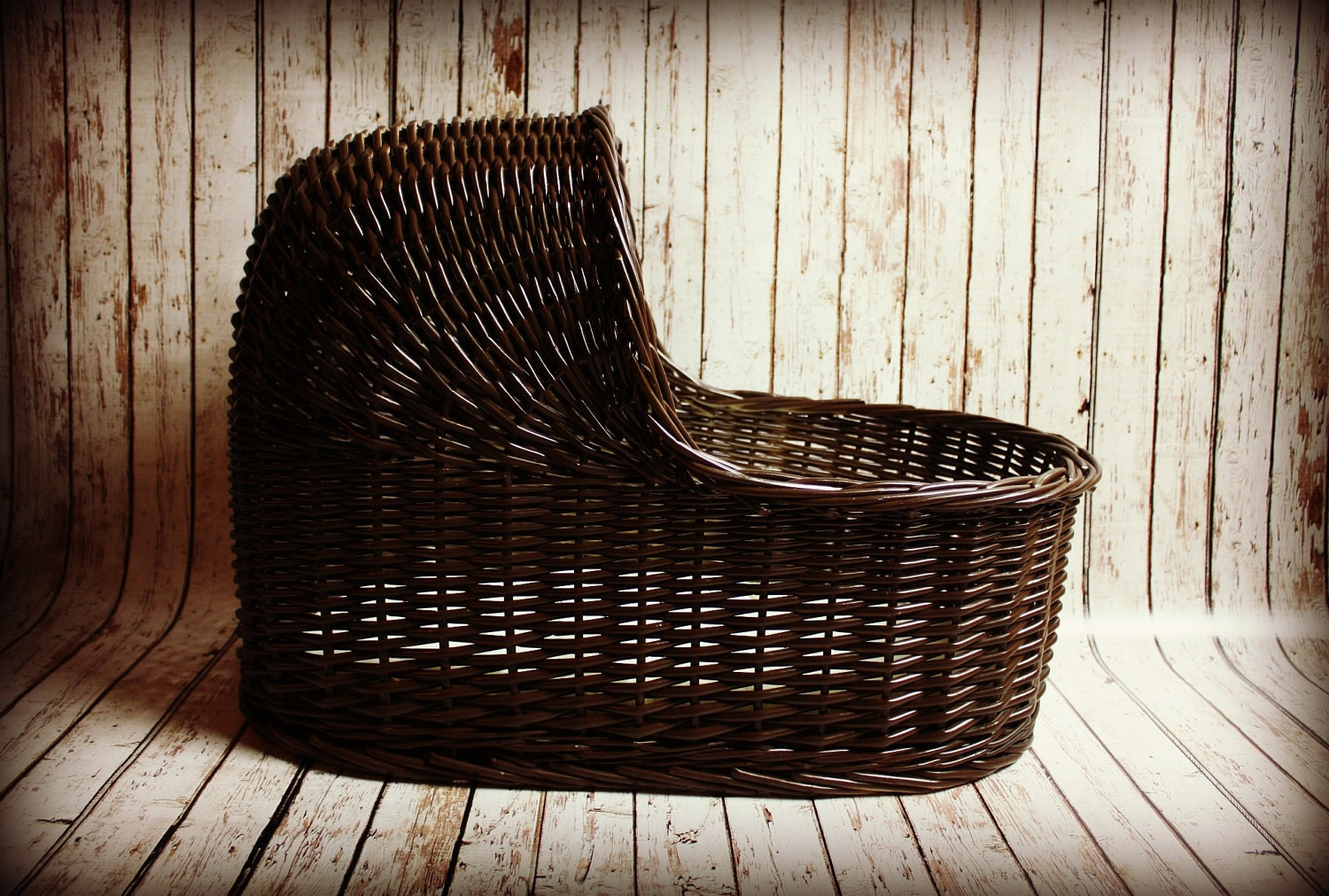 large table top wicker moses basket bassinet in espresso