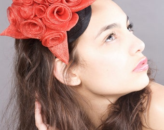 Red Fascinator, Red roses headpiece