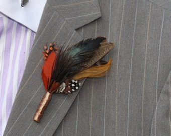 Feather Boutonnière, Buttonhole , Boutonnières for Wedding ,lapel pin for Groom