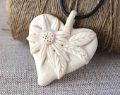 White Heart  pendant,  natural color clay, 925 silver clasp