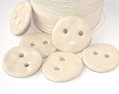 Porcelain buttons, ivory, cream, ceramic, Clothing accessories, 6 pieces, OOAK