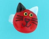 cat ring - handmade lampwork glass rings - cherry red - cat jewelry