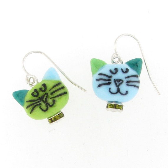 glass cat earrings - double-sided zen cats in green and blue with crystal collars