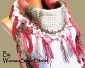 All shades of pink, the color of mink, cream-color. Multicolor, hand knit, womens scarf. Personalized Design. Neckwarmer, scarflette...
