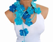 Hand made crochet turquoise blue Flower Lariat Scarf. Fashion Flower Scarves, Necklace...