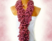 The scarf is knitted with Pink soft yarn. Long scarf. Romantic. For her. HAND MADE.