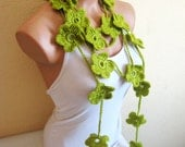 Hand made green crochet Scarf,Olive Green Flower Lariat Scarf. Fashion Flower Scarves, Necklace...
