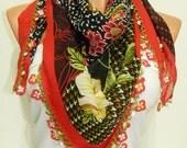 leopard pattern ,Red Multicolor  Turkish Yemeni OYA Scarf ..bridal,scarf,authentic, romantic, elegant, fashion, personalized design...