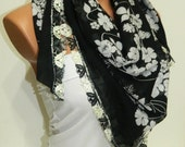 Black White Womens Scarves. Turkish Yemeni Guipure Scarf ..bridal,scarf,authentic, romantic, elegant, fashion, personalized design...