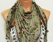 Forrest green brown Women scarf. Turkish Fabric Fringed Guipure Scarf ..bandana,headband,wedding,bridal,authentic,
