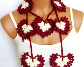 Burgundy Cream Hand made crochet heart lariat scarf. Fashion Flower Scarves, Necklace...