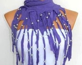 Latest Fashion Lilac scarf. Fringed and beaded, Personalized Design Women Scarf...
