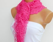 Latest Fashion filet knit pink women scarf, ruffle design, unique gift for women, spring trends 2012