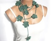 Crochet Mint Green Flower Lariat Scarf. Fashion Flower Scarves, Necklace...