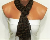 brown, red, chiffon shawls, scarves, bandanas Headband Necklace Cowl - Multicolor