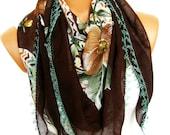 Turkish Yemeni OYA Scarf .Brown, Mustard, Mint, .bridal,scarf,authentic, romantic, elegant, fashion, personalized design...