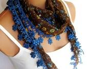 Blue Brown Women Scarf. Summer trend scarf. Turkish Fabric Fringed Guipure Scarf ..bandana,headband,wedding,bridal,authentic, romantic,