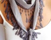 Fashion Gray Scarf. Summer trend scarf. Turkish Fabric Fringed Guipure Scarf ..bandana,headband,wedding,bridal,authentic, romantic,
