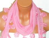 Personalized Design pink,Scarf. Turkish Fabric Fringed Guipure Scarf ..bandana,headband,wedding,bridal,authentic, romantic, elegant