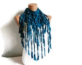 Teal Blue Fabric Fringed Scarf with Beads, Woman Scarves, Scarf, Accessory,