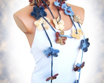 Hand made crochet Blue Brown Cream Flower Lariat Scarf. Fashion Flower Scarves, Necklace...