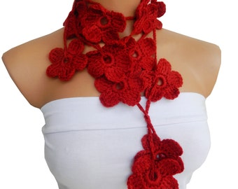 Hand made crochet Red Rubby Flower Lariat Scarf. Fashion Flower Scarves, Necklace...