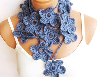 Pastel Blue Hand made crochet Flower Lariat Scarf. Fashion Flower Scarves, Necklace...