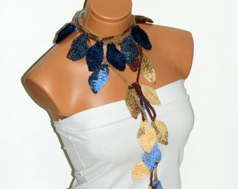 Crochet ivy,multicolor ivy leafs Lariat Scarf. Fashion Flower Scarves, Necklace...
