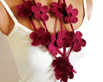 Crochet Burgundy Flower Lariat Scarf. Fashion Flower Scarves, Necklace... Lariat scarf for 2012...