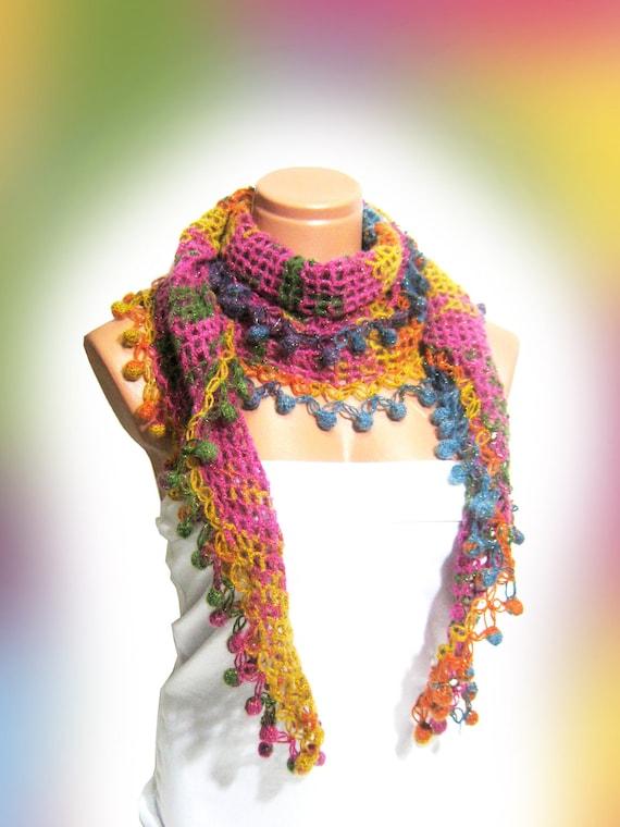 Multicolor, hand knit, woman scarf. Personalized Design. Latest Fashion. scarf, neckwarmer, scarflette...