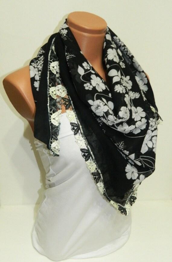 Black White Womens Scarves. Turkish Yemeni Guipure Scarf ..bridal,scarf,authentic, romantic, elegant, fashion, personalized design...