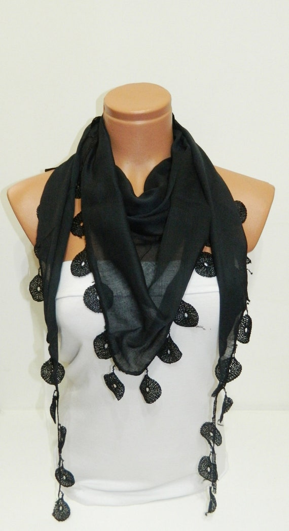 black Scarves. Turkish Fabric Fringed Guipure Scarf ..bandana,headband,wedding,bridal,authentic, romantic, elegant,