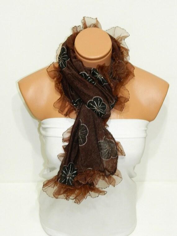 Womens shawl, scarves. Brown Frilly, fancy flower pattern sim. wedding,bridal,authentic, romantic, elegant