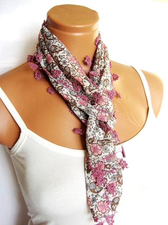 Fashion floral scarf, pastel pink, chiffon, Turkish OYA Scarf ..bridal,scarf,authentic, romantic, elegant, fashion, personalized design...