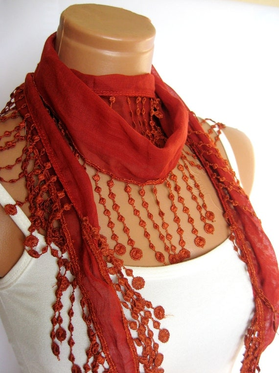 Cinnamon Scarf, Fabric Fringed Guipure Turkish  Scarf ..bandana,headband,wedding,bridal,authentic, romantic, elegant,