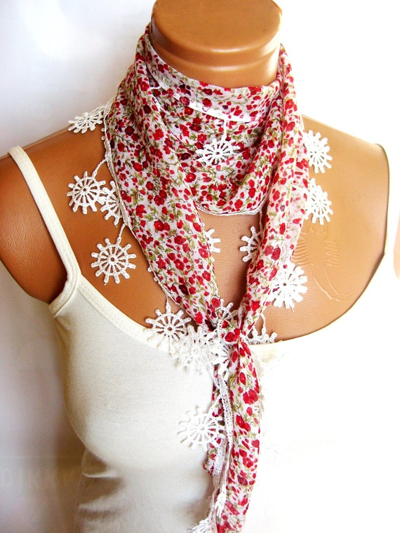 Red, White, Green, Scarf, Turkish Fabric Fringed Guipure Scarf ..bandana,headband,wedding,bridal,authentic, romantic,