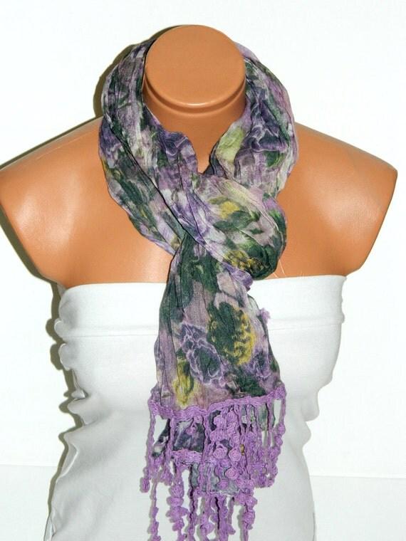 purple Lilac Multicolor Scarf. Turkish Fabric Fringed Guipure Scarf ..bandana,headband,wedding,bridal,authentic, romantic, elegant,