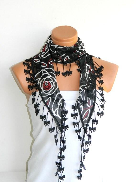 Red Black flower Scarf. Turkish Chiffon Fabric Fringed Guipure Scarf ..bandana,headband,wedding,bridal,authentic, romantic, elegant,