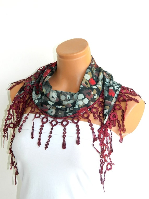 Wine Multicolor 2012 summer trends Scarf ..bridal,scarf,authentic, romantic, elegant, fashion, personalized design
