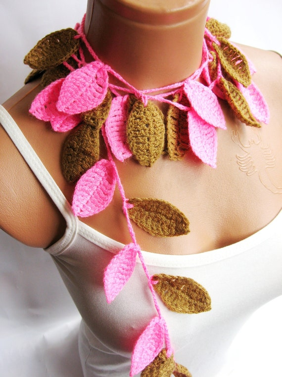Crochet ivy, pink, caramel ivy leafs Lariat Scarf. Fashion Flower Scarves, Necklace...