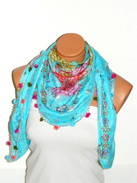 Turquoise,Multicolor  Turkish Yemeni OYA Scarf .bridal,scarf,authentic,elegant, fashion, personalized design.