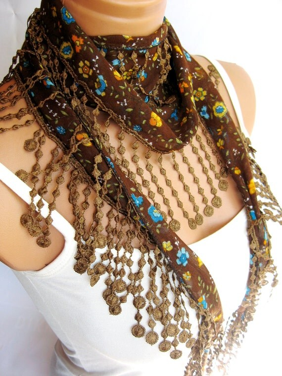 Fashion Brown Colorful Scarf Summer trend scarf. Turkish Fabric Fringed Guipure Scarf ..bandana,headband,wedding,bridal,authentic, romantic,