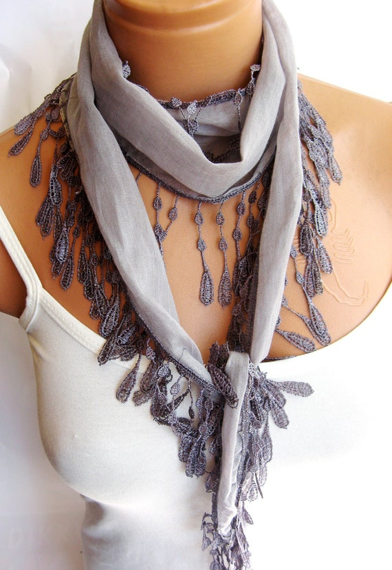 Fashion Gray Scarf. Summer trend scarf. Turkish Fabric Fringed Guipure Scarf ..bandana,headband,wedding,bridal,authentic, romantic,