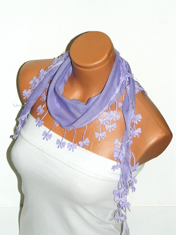Personalized Design lilac Scarf. Turkish Fabric Fringed Guipure Scarf ..bandana,headband,wedding,bridal,authentic, romantic, elegant,