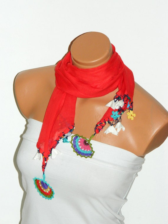 2012 summer trends Crocheted red scarf with handmade multi color oya flowers