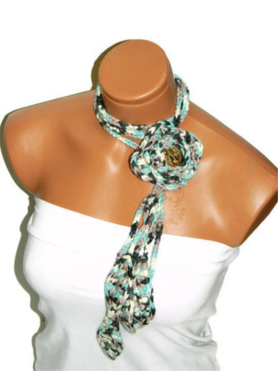 Forrest green, turquoise multicolor floral crochet scarf lariat Hand Made Scarves Fashion Flower, Necklace ...