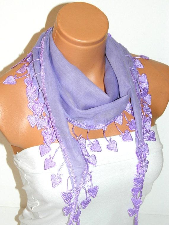 Personalized Design lilac Scarf. Turkish Fabric Fringed Guipure Scarf ..bandana,headband,wedding,bridal,authentic, romantic, elegant,