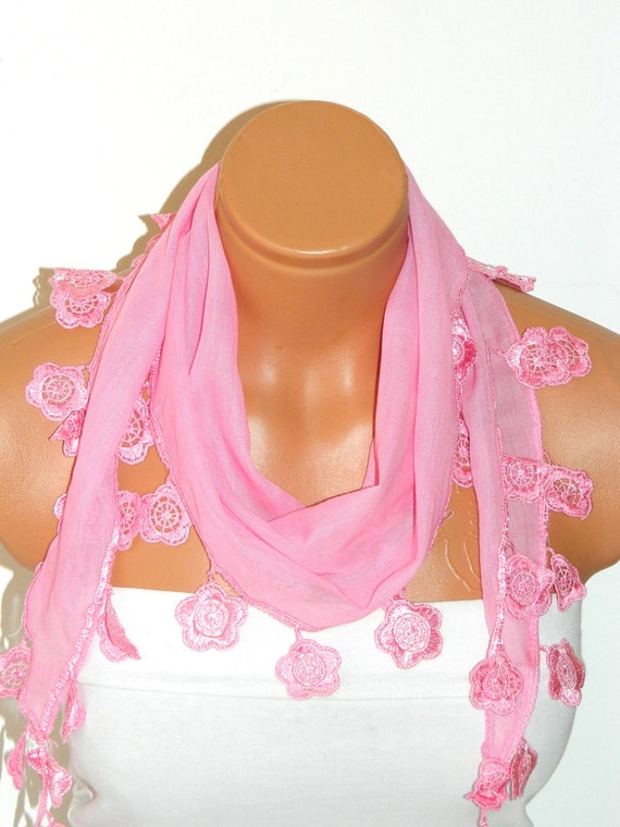 Personalized Design pink,Scarf. Turkish Fabric Fringed Guipure Scarf ..bandana,headband,wedding,bridal,authentic, romantic, elegant