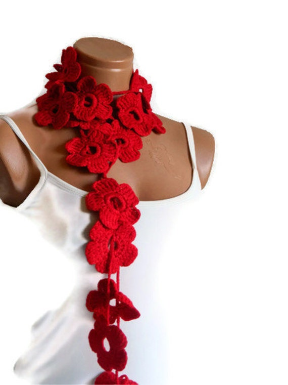 Crochet Red Rubby Flower Lariat Scarves, Fashion Flower Scarves, Necklace... summer scarf SALE.