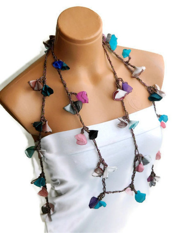 Shabby Chic Multi color Fabric Scarf Necklace, recycling statement traditional unique necklace...